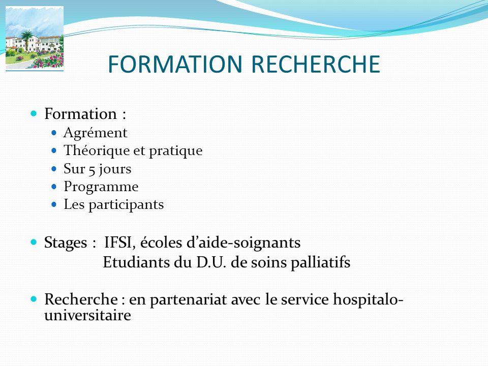 FORMATION RECHERCHE Formation : Stages : IFSI, écoles d'aide-soignants