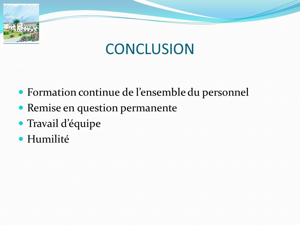 CONCLUSION Formation continue de l'ensemble du personnel