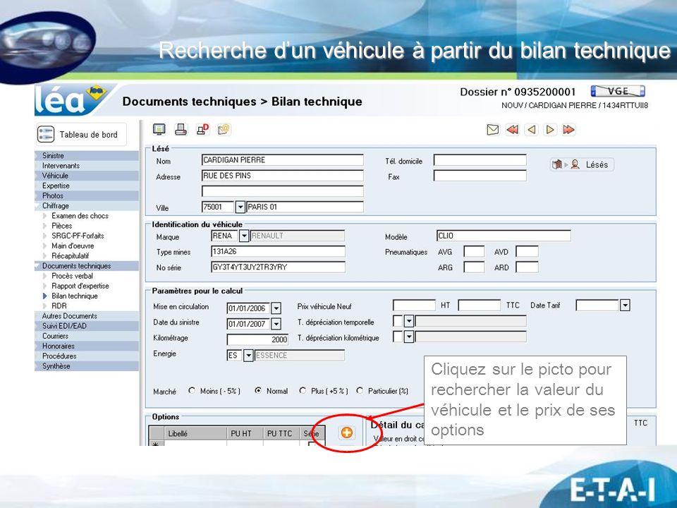 Recherche d'un véhicule à partir du bilan technique