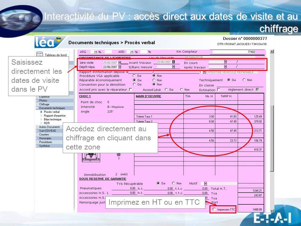 Interactivité du PV : accès direct aux dates de visite et au chiffrage
