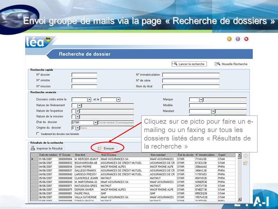 Envoi groupé de mails via la page « Recherche de dossiers »