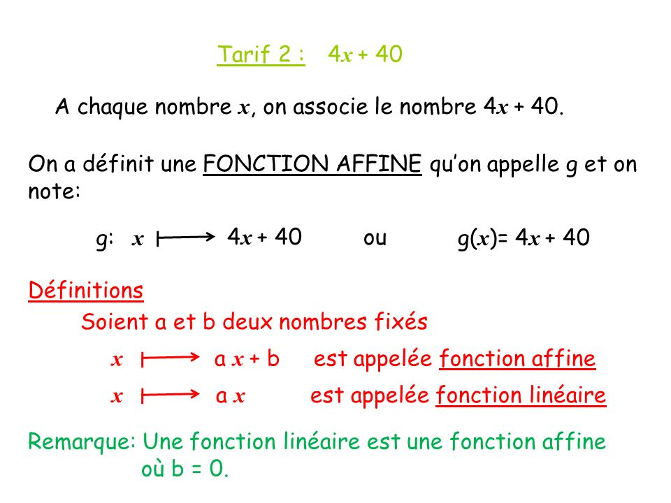 Tarif 2 : 4x + 40 A chaque nombre x, on associe le nombre 4x On a définit une FONCTION AFFINE qu'on appelle g et on note: