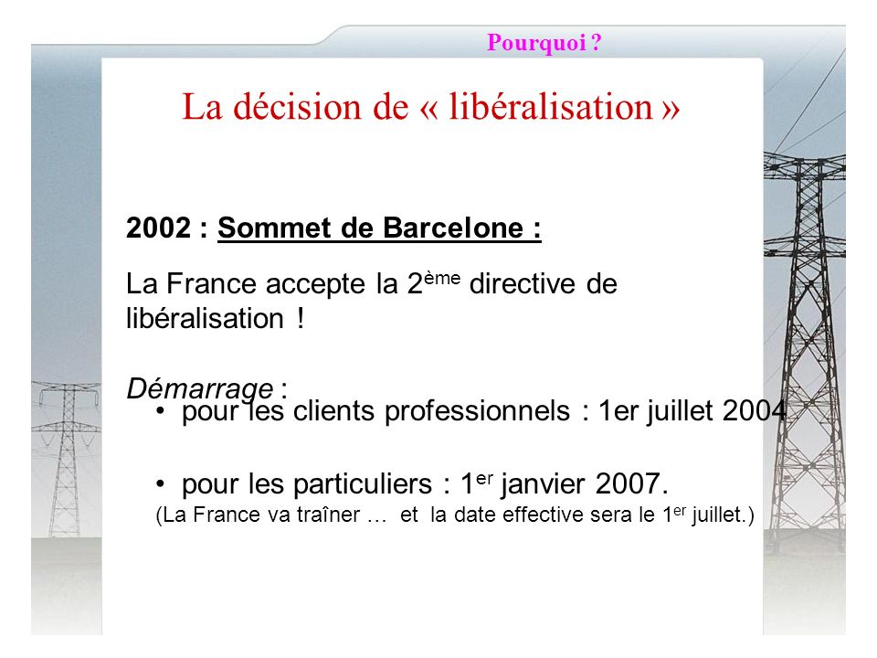La décision de « libéralisation »