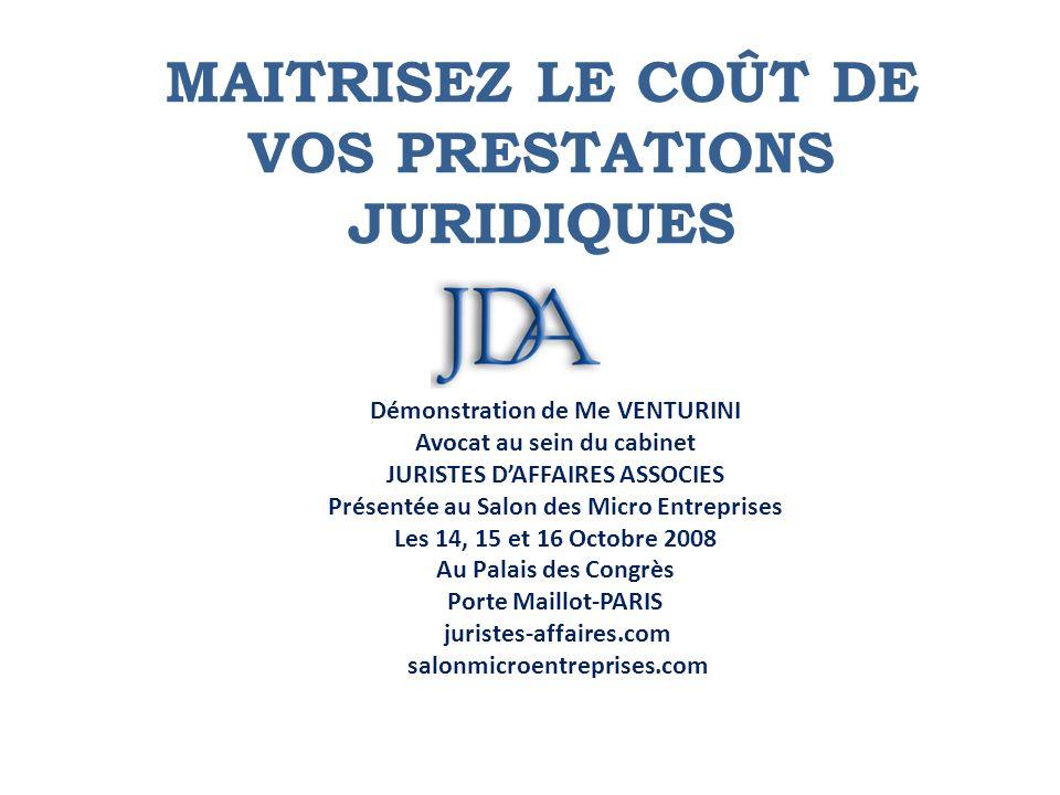 MAITRISEZ LE COûT DE VOS PRESTATIONS JURIDIQUES