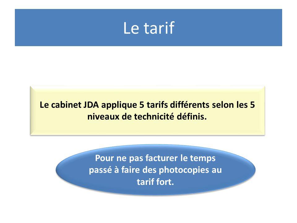 Le tarif Le cabinet JDA applique 5 tarifs différents selon les 5 niveaux de technicité définis.