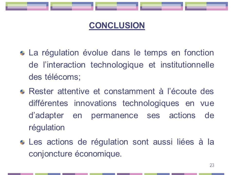 CONCLUSION La régulation évolue dans le temps en fonction de l'interaction technologique et institutionnelle des télécoms;