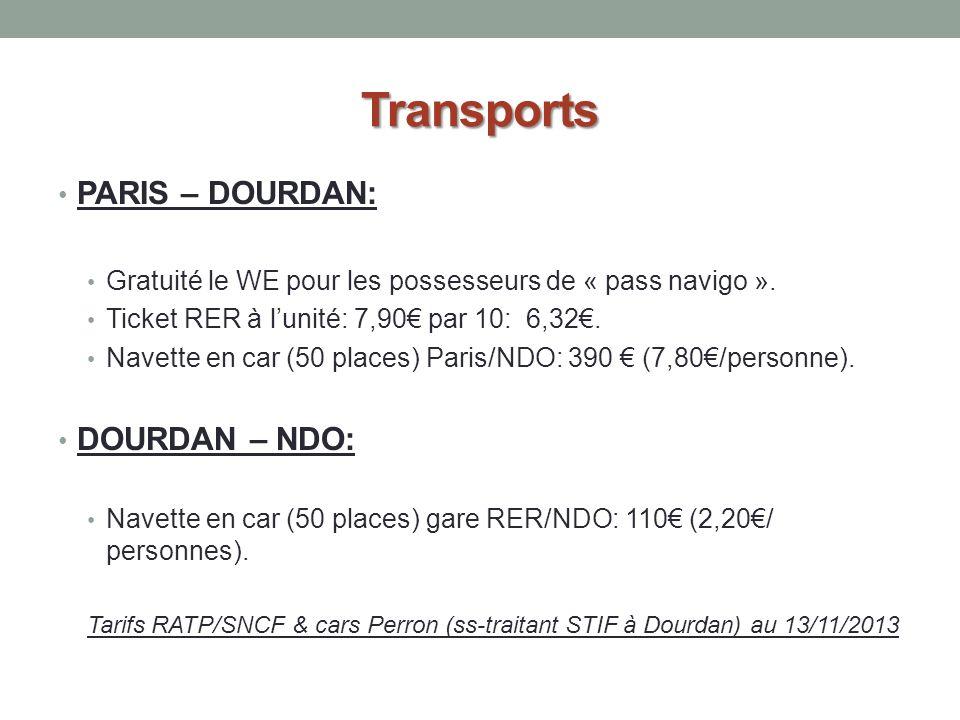Transports PARIS – DOURDAN: DOURDAN – NDO: