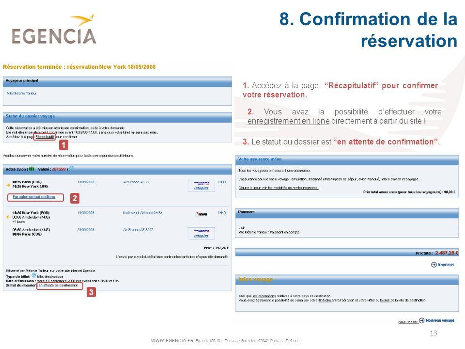 8. Confirmation de la réservation