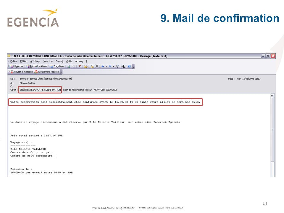 9. Mail de confirmation