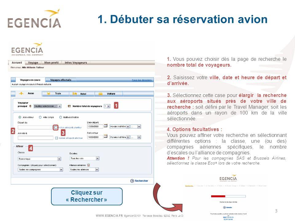 1. Débuter sa réservation avion