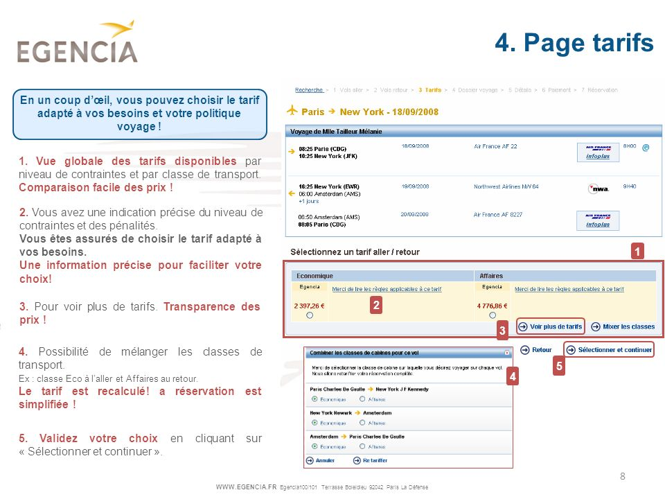 4. Page tarifs En un coup d'œil, vous pouvez choisir le tarif adapté à vos besoins et votre politique voyage !
