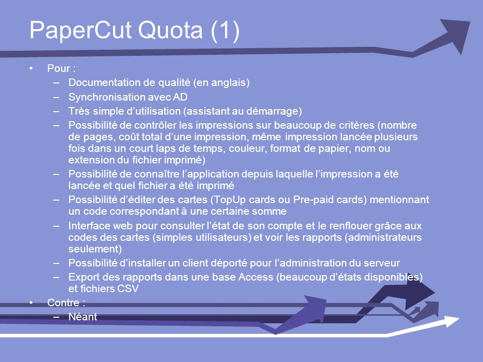 PaperCut Quota (1) Pour : Documentation de qualité (en anglais)
