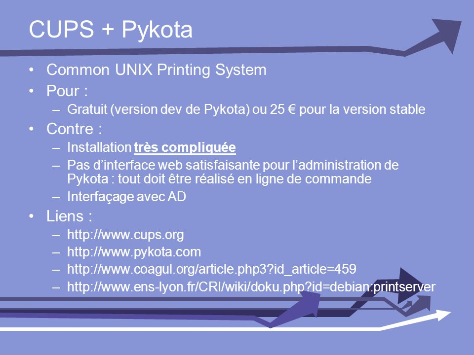 CUPS + Pykota Common UNIX Printing System Pour : Contre : Liens :