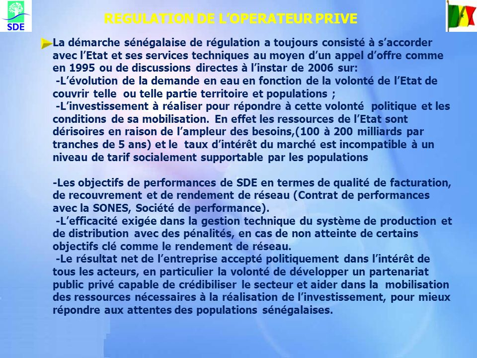 REGULATION DE L'OPERATEUR PRIVE