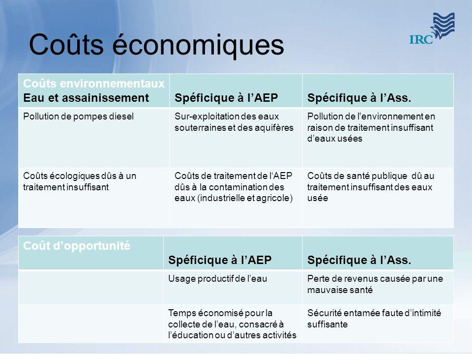 Coûts économiques Coûts environnementaux Eau et assainissement