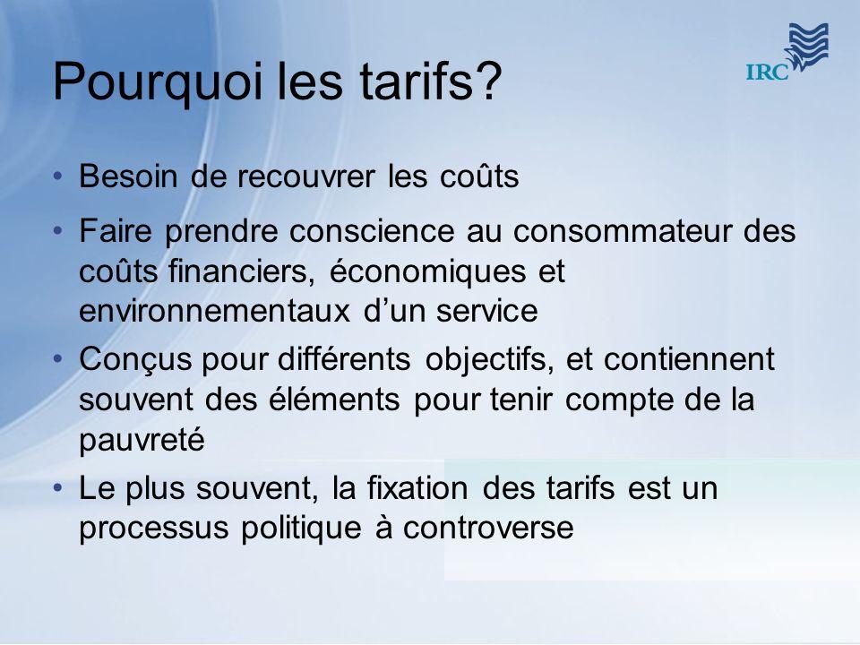 Pourquoi les tarifs Besoin de recouvrer les coûts