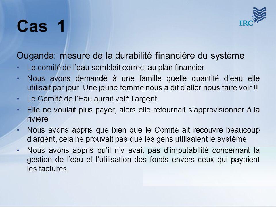 Cas 1 Ouganda: mesure de la durabilité financière du système