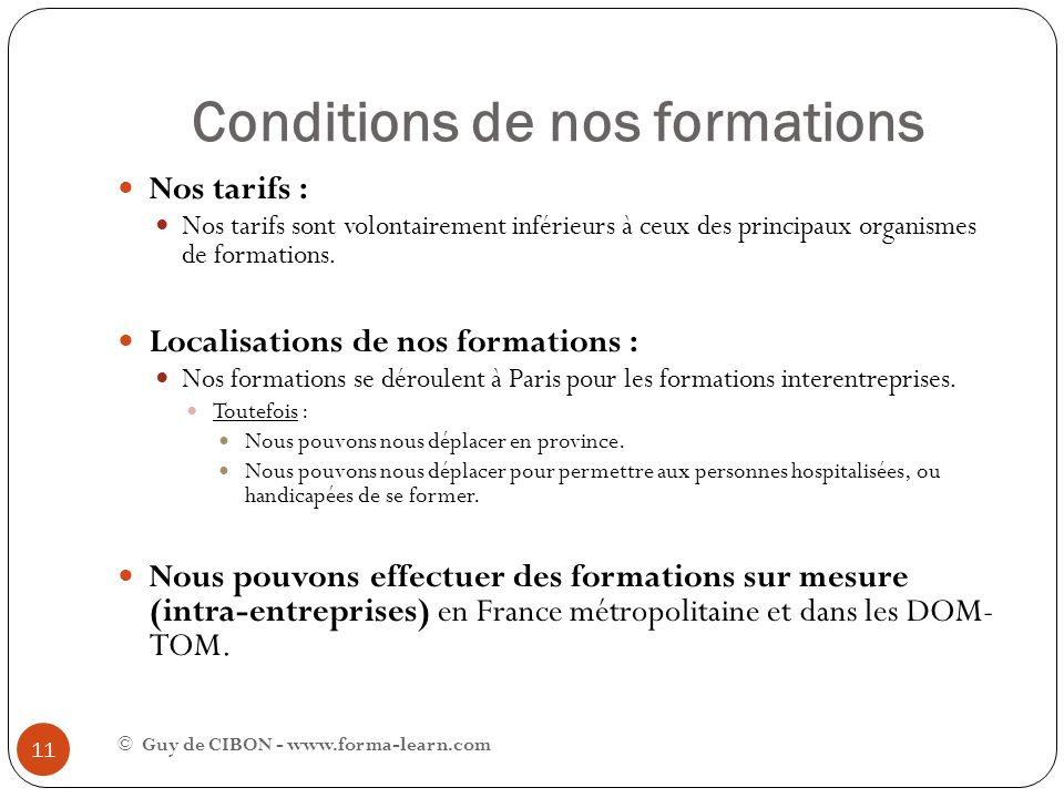 Conditions de nos formations