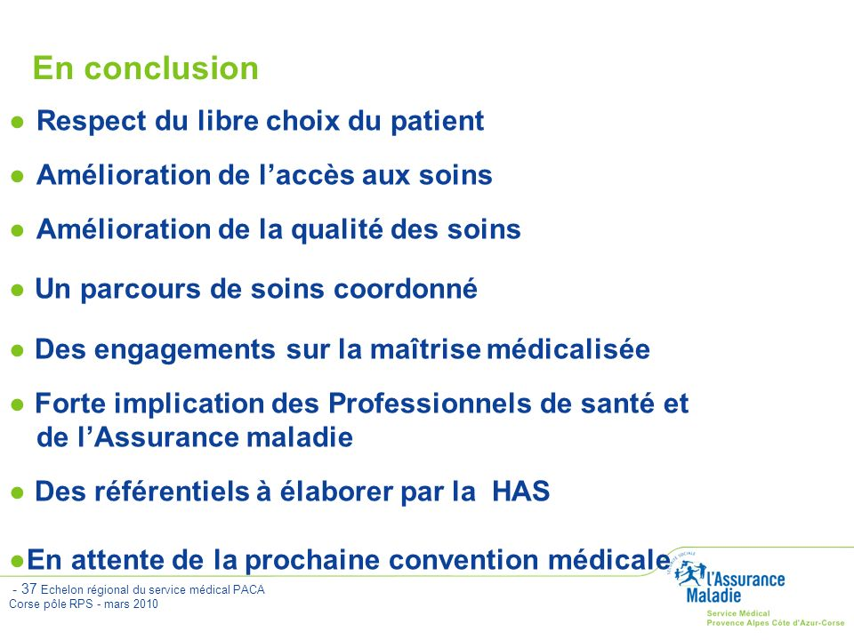 En conclusion Respect du libre choix du patient
