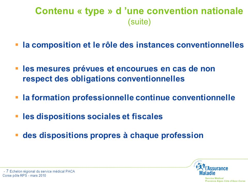Contenu « type » d 'une convention nationale (suite)