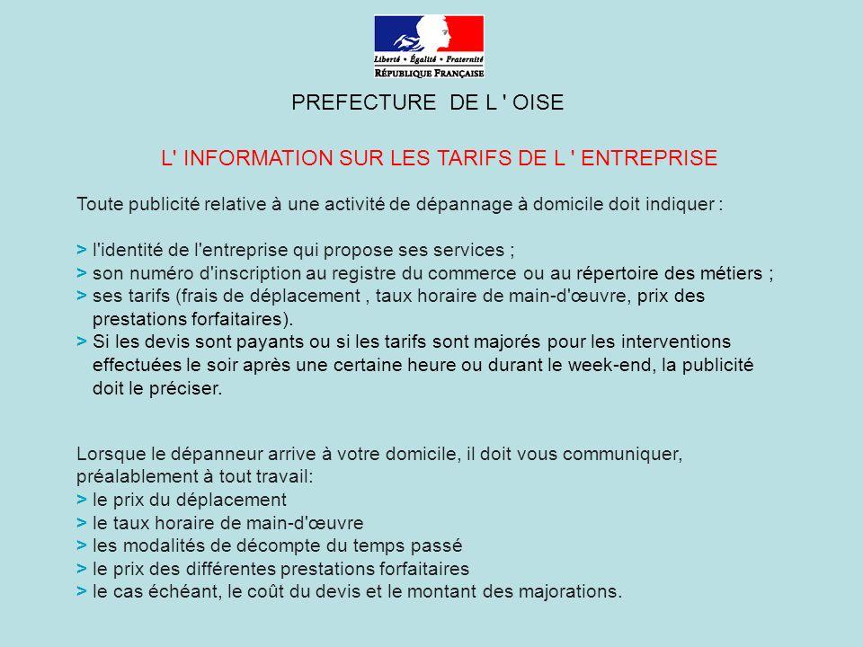 L INFORMATION SUR LES TARIFS DE L ENTREPRISE