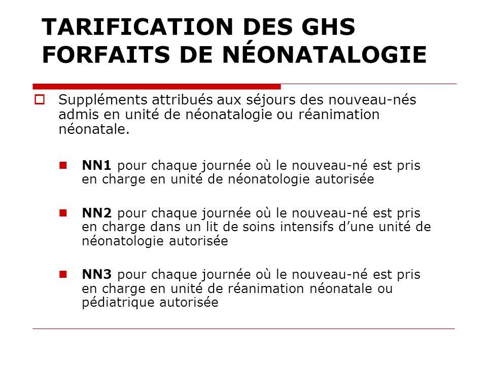 TARIFICATION DES GHS FORFAITS DE NÉONATALOGIE