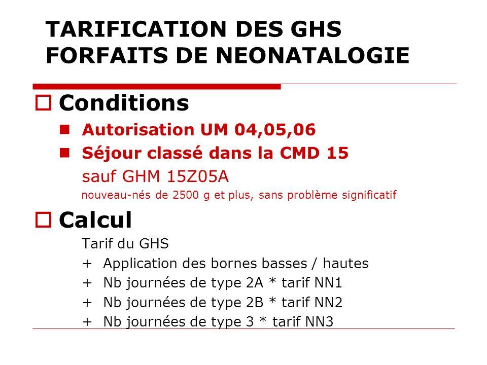 TARIFICATION DES GHS FORFAITS DE NEONATALOGIE