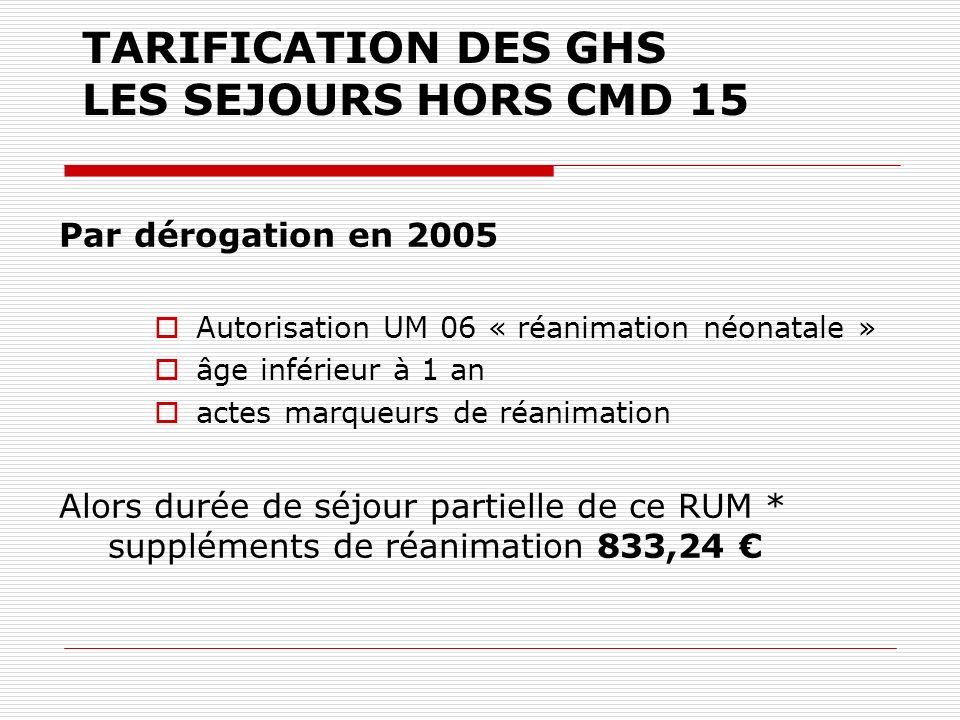 TARIFICATION DES GHS LES SEJOURS HORS CMD 15