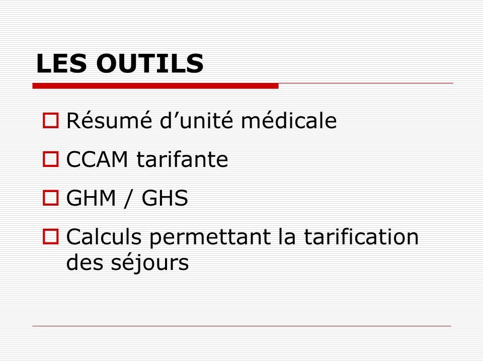 LES OUTILS Résumé d'unité médicale CCAM tarifante GHM / GHS
