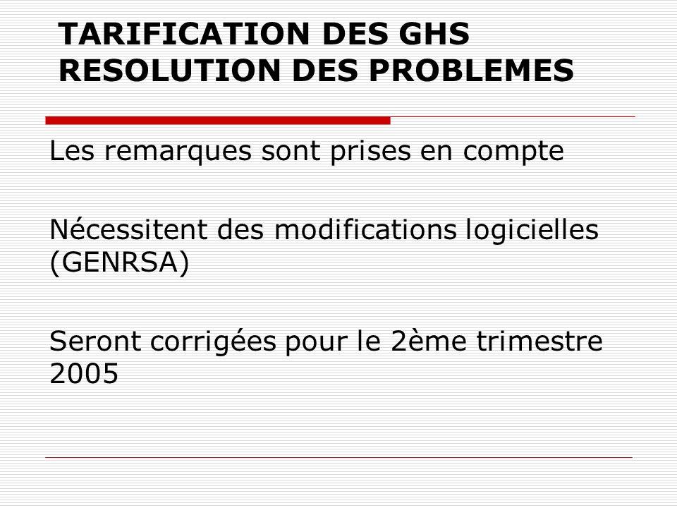 TARIFICATION DES GHS RESOLUTION DES PROBLEMES