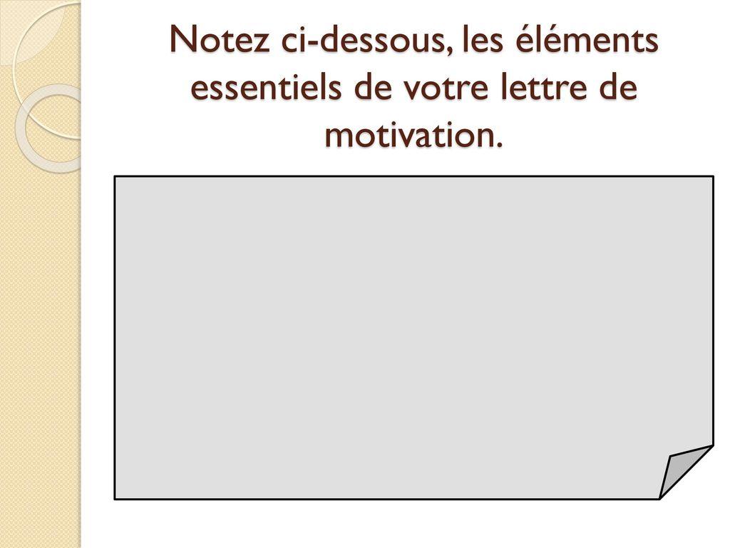 éléments lettre de motivation