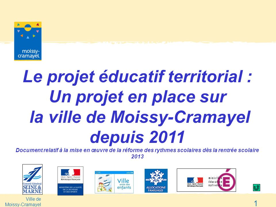 Le projet éducatif territorial :