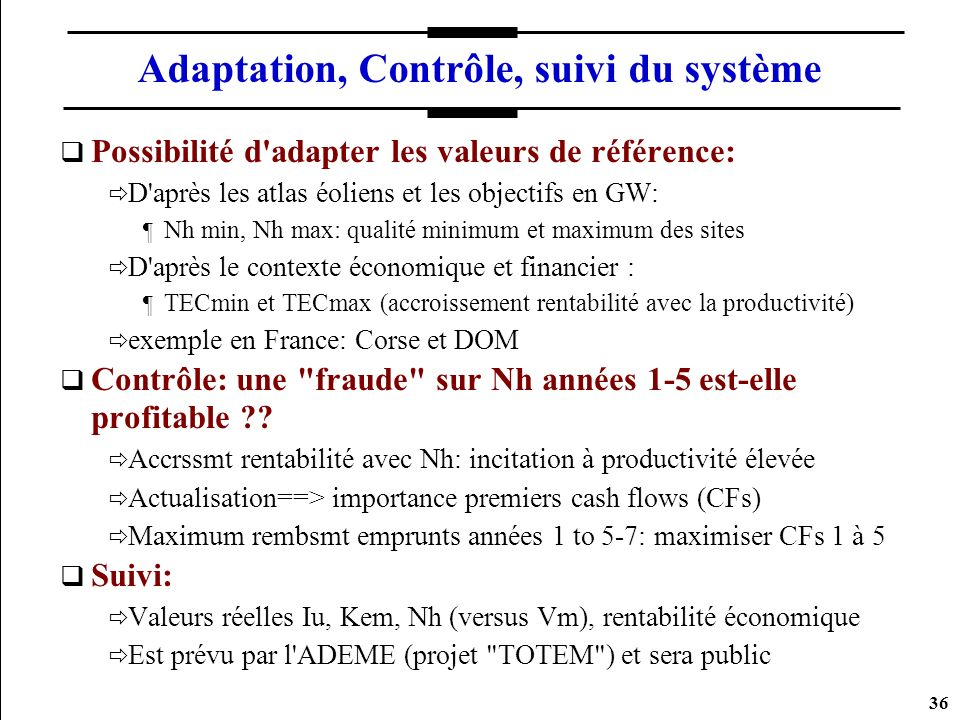 Adaptation, Contrôle, suivi du système
