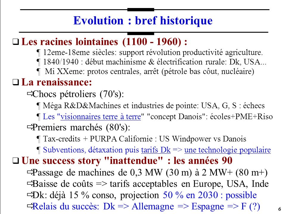 Evolution : bref historique