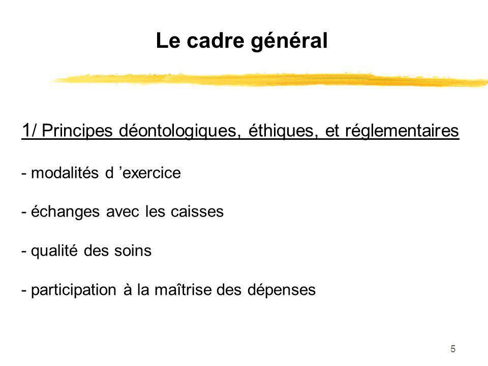 Le cadre général 1/ Principes déontologiques, éthiques, et réglementaires. - modalités d 'exercice.