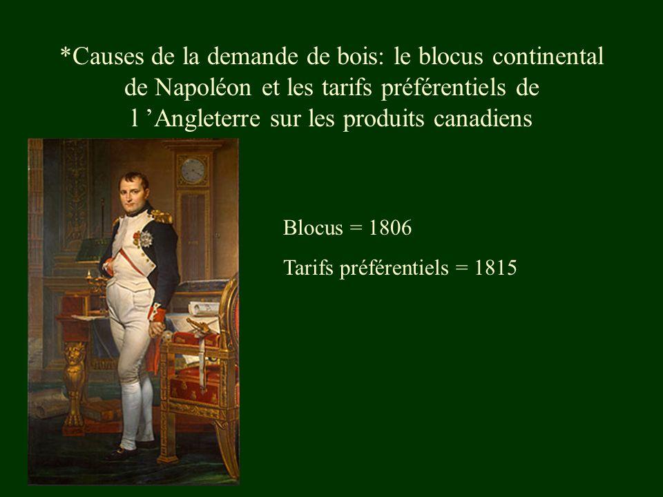 *Causes de la demande de bois: le blocus continental de Napoléon et les tarifs préférentiels de l 'Angleterre sur les produits canadiens