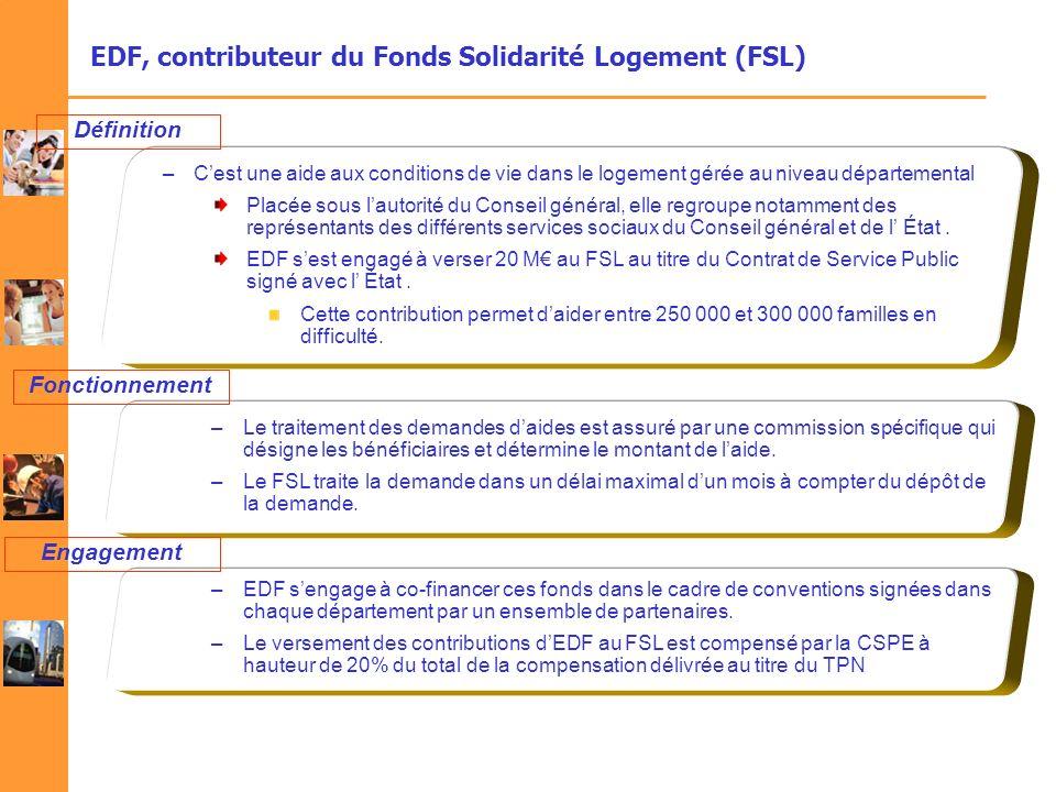 EDF, contributeur du Fonds Solidarité Logement (FSL)