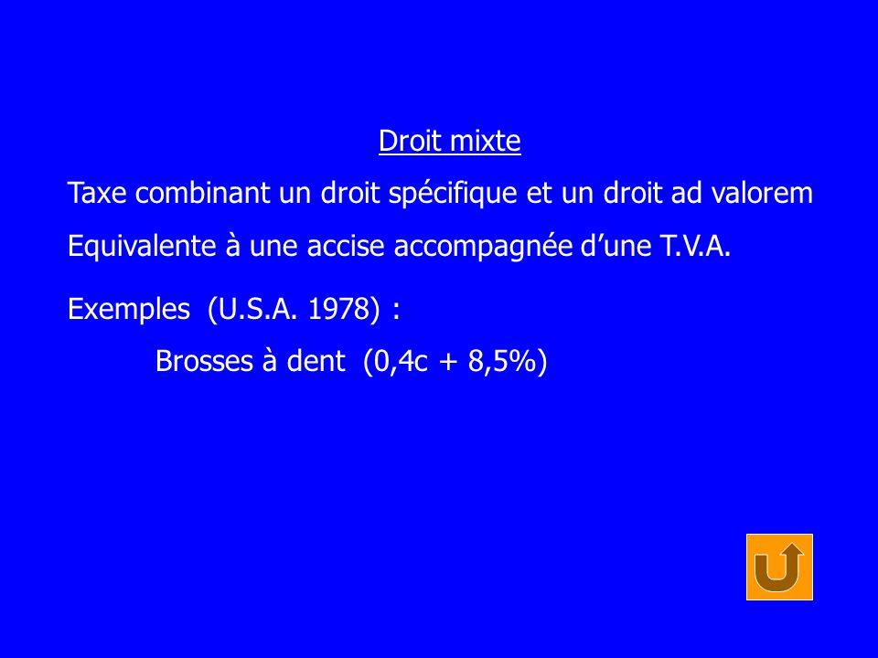 Droit mixte Taxe combinant un droit spécifique et un droit ad valorem. Equivalente à une accise accompagnée d'une T.V.A.