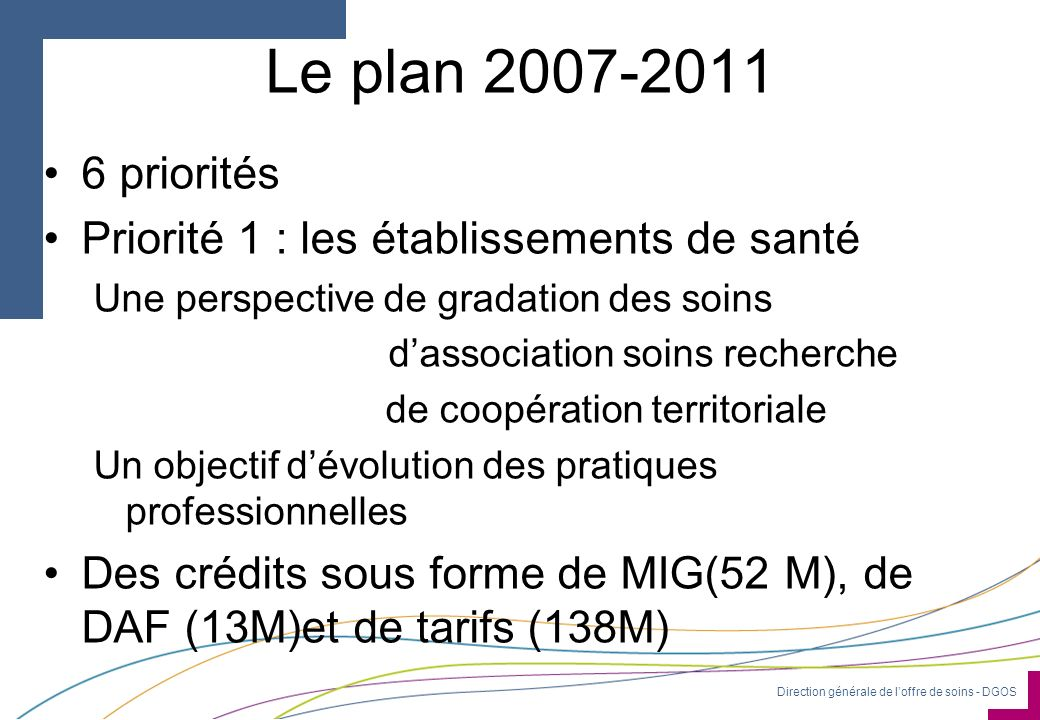 Le plan 2007-2011 6 priorités Priorité 1 : les établissements de santé