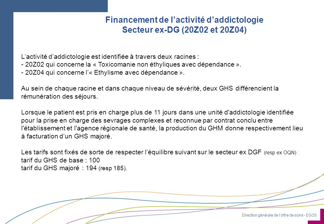 Financement de l'activité d'addictologie Secteur ex-DG (20Z02 et 20Z04)