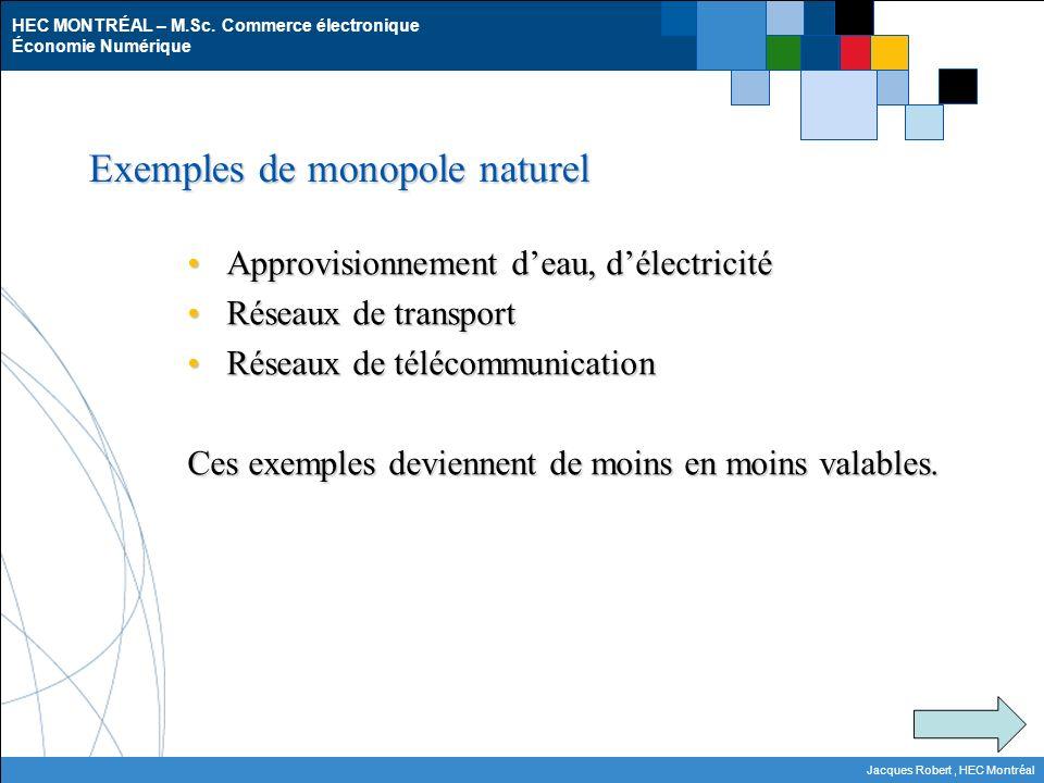 Exemples de monopole naturel