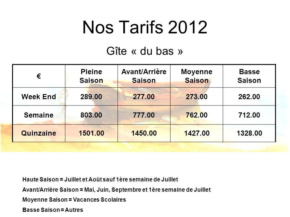 Nos Tarifs 2012 Gîte « du bas » € Pleine Saison Avant/Arrière Saison