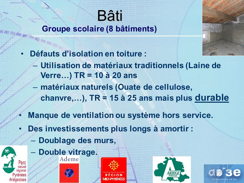 Bâti Groupe scolaire (8 bâtiments) Défauts d'isolation en toiture :