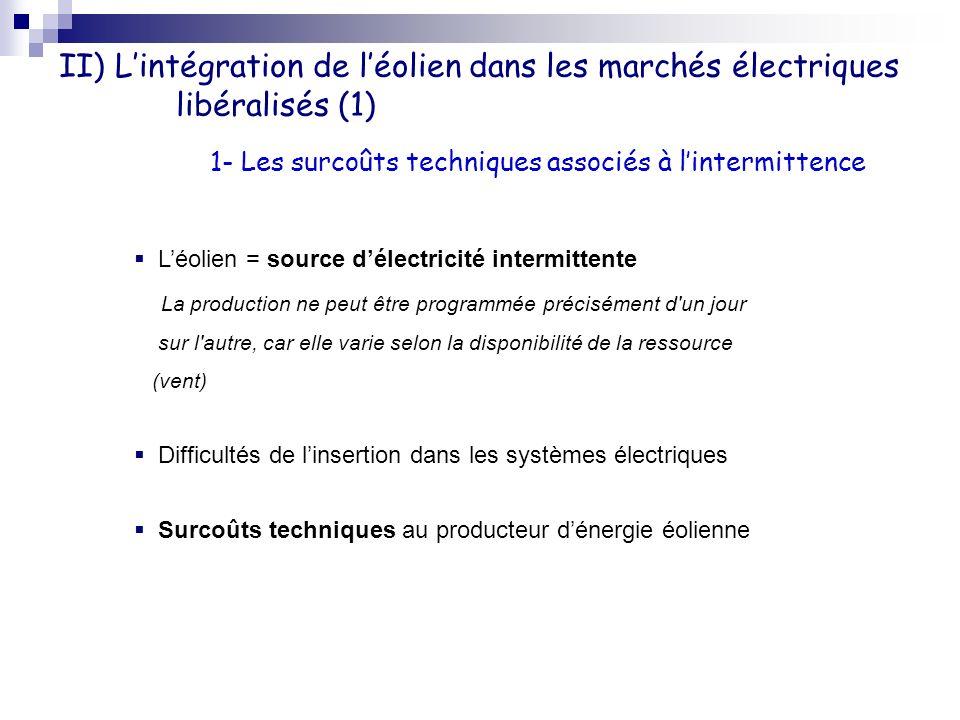 II) L'intégration de l'éolien dans les marchés électriques libéralisés (1)