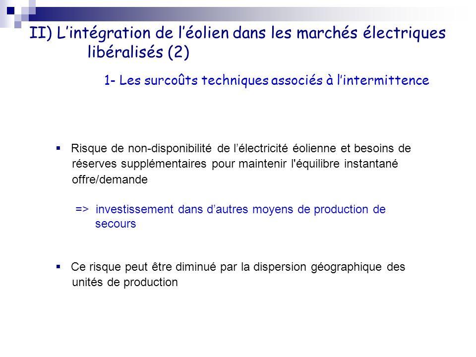 II) L'intégration de l'éolien dans les marchés électriques libéralisés (2)