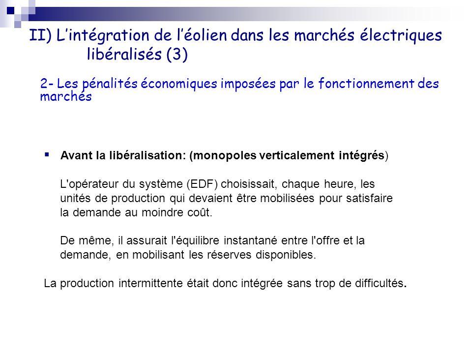 II) L'intégration de l'éolien dans les marchés électriques libéralisés (3)