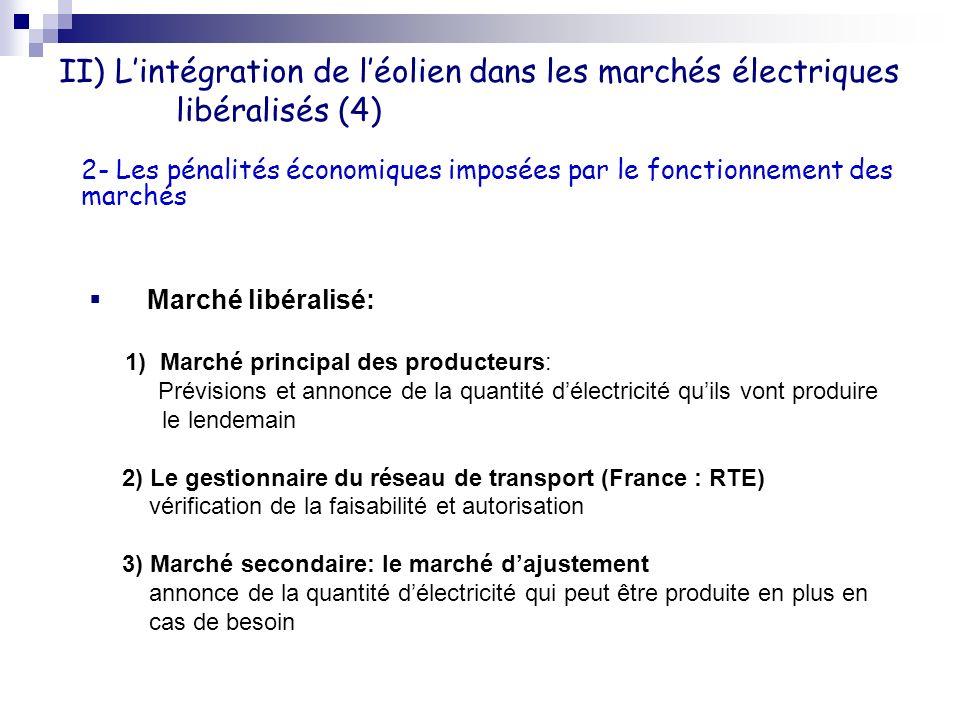 II) L'intégration de l'éolien dans les marchés électriques libéralisés (4)