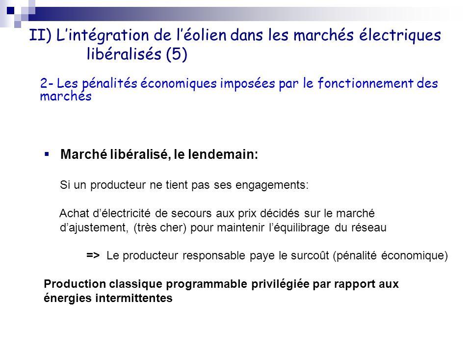 II) L'intégration de l'éolien dans les marchés électriques libéralisés (5)