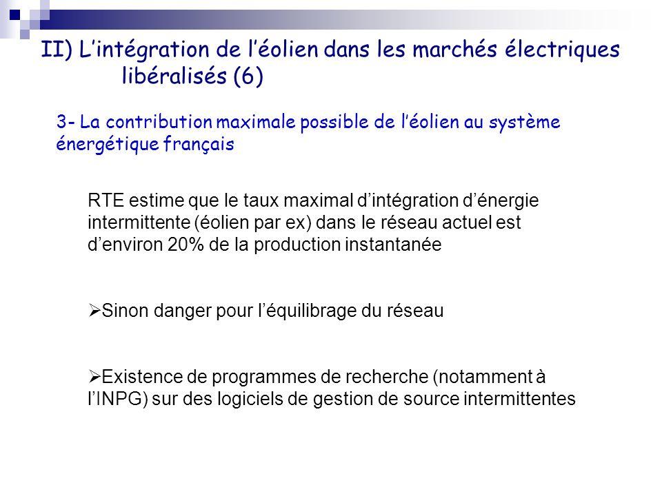 II) L'intégration de l'éolien dans les marchés électriques libéralisés (6)