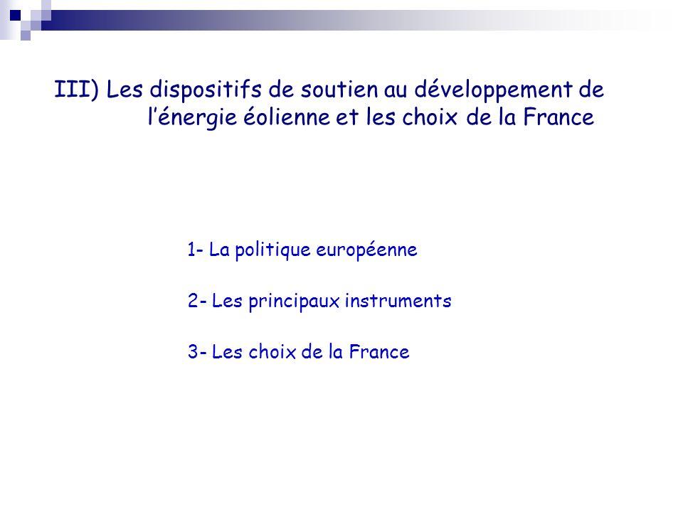 III) Les dispositifs de soutien au développement de l'énergie éolienne et les choix de la France